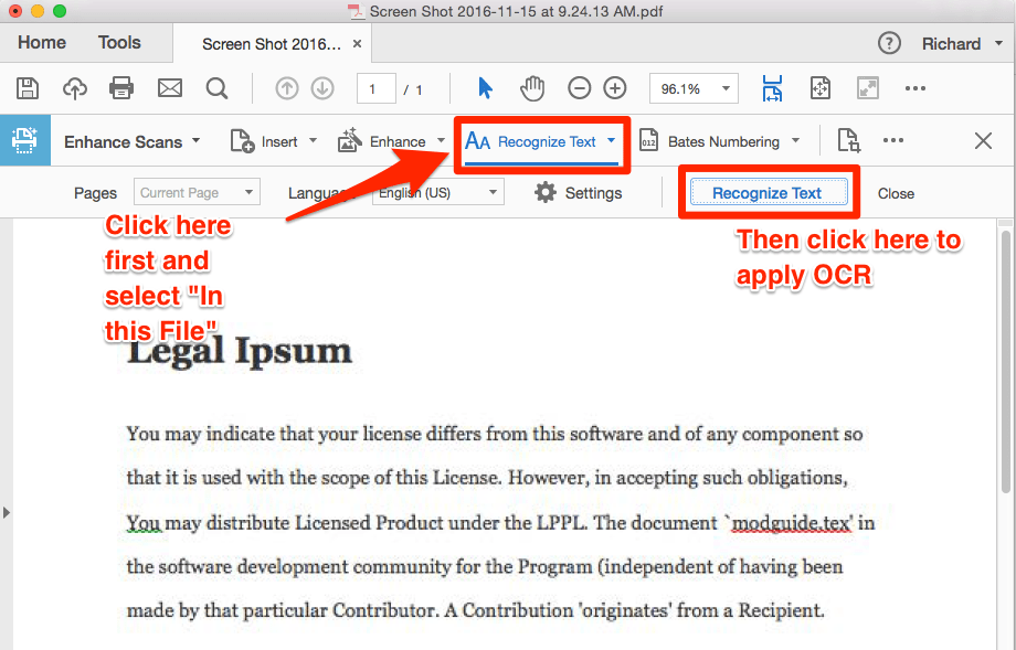 How to make a PDF text searchable | One Legal